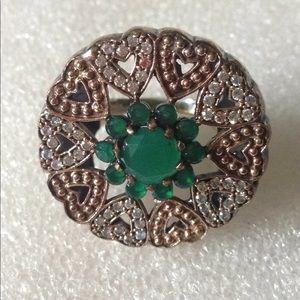 Vintage gem tow color silver ring